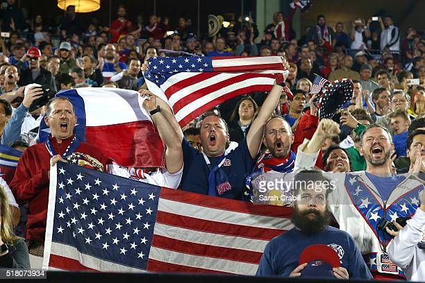 Fans of the U.S. Under-23 Men's National Team cheer during the first half of the 2016 CONCACAF Olympic Qualifying playoff against Colombia at Toyota...