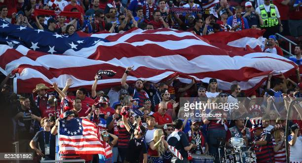 Fans of the USA cheer during the final football game of the 2017 CONCACAF Gold Cup against Jamaica at the Levi's Stadium in Santa Clara California on...