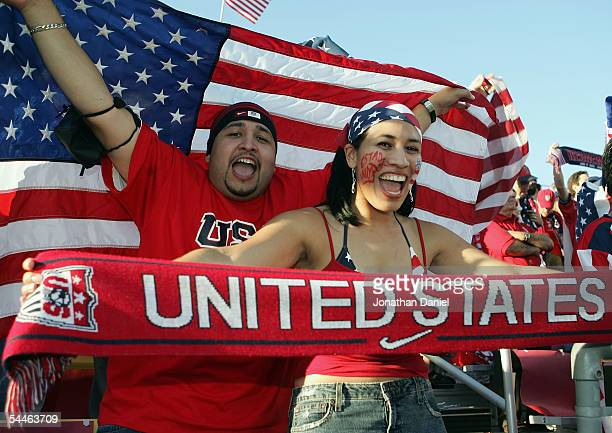 Fans of the USA show their support prior to the USA hosting Mexico in their 2006 World Cup Qualifying match at Crew Stadium on September 3 2005 in...