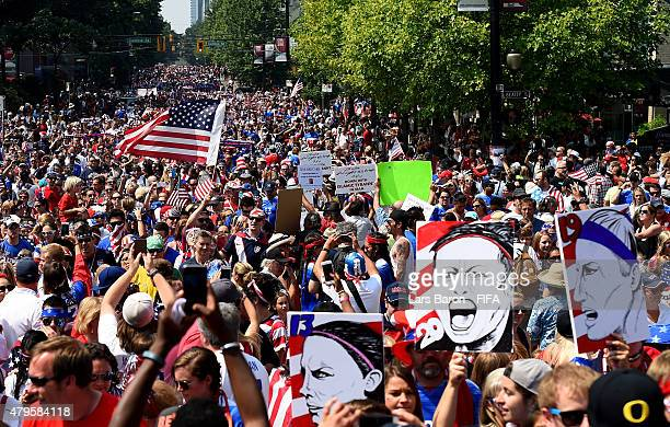 Fans of the USA walk to the stadium prior to the FIFA Women's World Cup 2015 Final between USA and Japan at BC Place Stadium on July 5 2015 in...