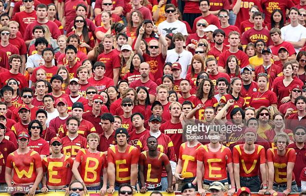 Fans of the USC Trojans look on during the first half of their Pac10 Conference Game against the Arizona Wildcats at the Los Angeles Memorial...