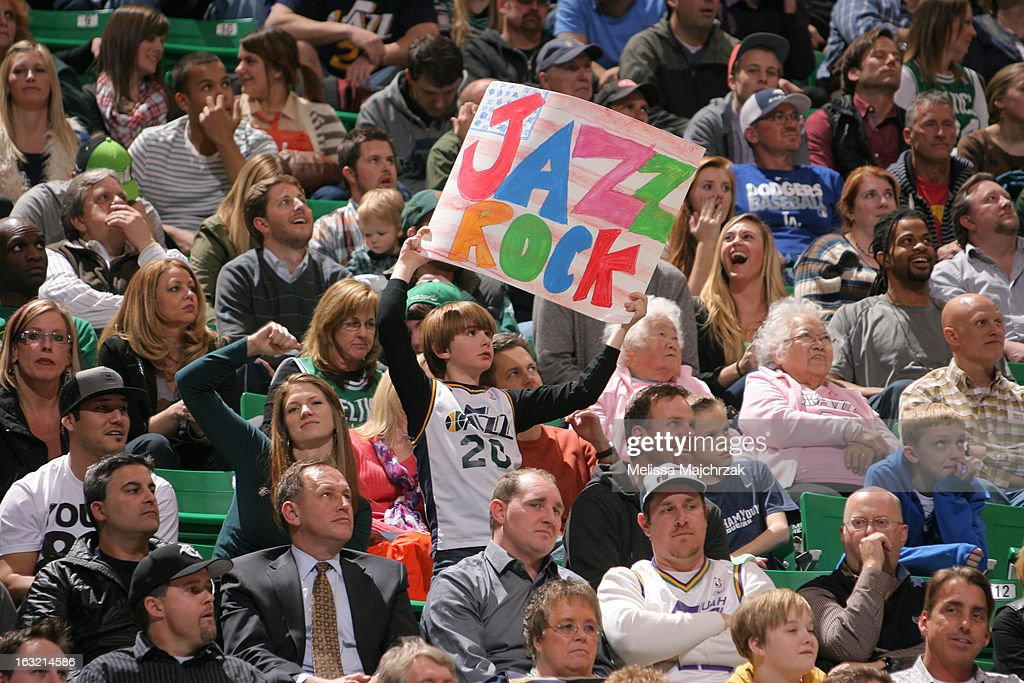 Fans of the Utah Jazz hold up signs during the game against the Boston Celtics at Energy Solutions Arena on February 25, 2013 in Salt Lake City, Utah.