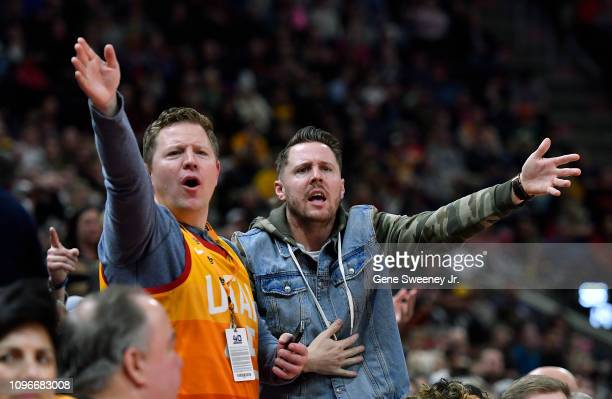 Fans of the Utah Jazz react to a call in the first half of a NBA game against the San Antonio Spurs at Vivint Smart Home Arena on February 09 2019 in...