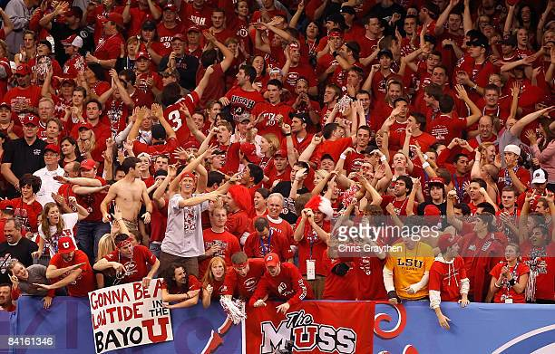 Fans of the Utah Utes cheer on their team in the first half against the Alabama Crimson Tide during the 75th Allstate Sugar Bowl at the Louisiana...