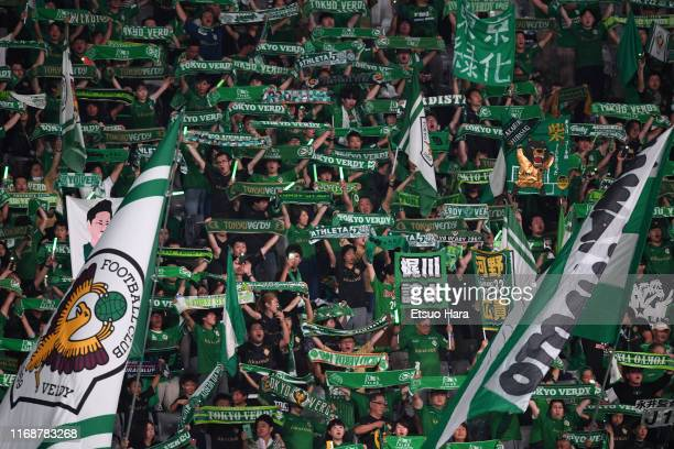 Fans of Tokyo Verdy cheer prior to the JLeague J2 match between Tokyo Verdy and Montedio Yamagata at Ajinomoto Stadium on August 18 2019 in Chofu...