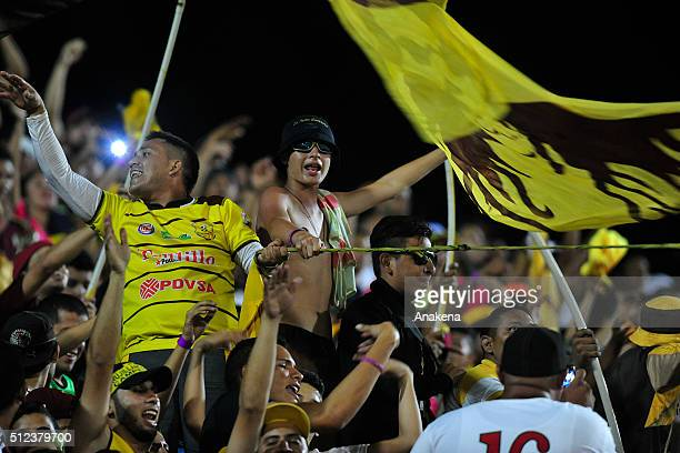 Fans of Trujillanos cheer for their team during a group stage match between Trujillanos and River Plate as part of Copa Bridgestone Libertadores 2016...