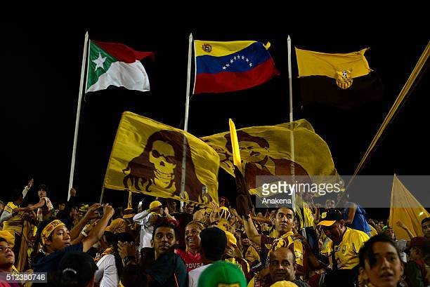 Fans of Trujillanos cheer their team during a group stage match between Trujillanos and River Plate as part of Copa Bridgestone Libertadores 2016 at...