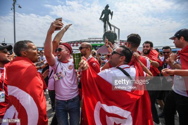 Fans of Tunisia during the FIFA World Cup Group G match between Belgium and Tunisia at Spartak Stadium on June 23 2018 in Moscow Russia