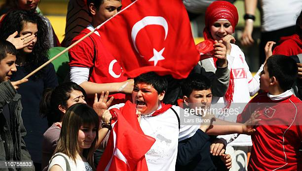 Fans of Turkey are seen during the UEFA U17 European Championship Elite Round match between Germany and Turkey at Grotenburgkampfbahn on March 24...