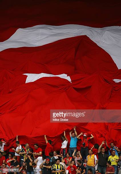 Fans of Turkey roll out the Turkish flag in support of their team against the Czech Republic during their International Friendly match on May 22 2010...