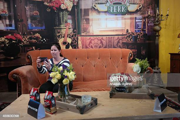 Fans of TV series Friends visit the popup Central Perk coffee shop in lower Manhattan marking the 20th anniversary of Friends in a collaboration...