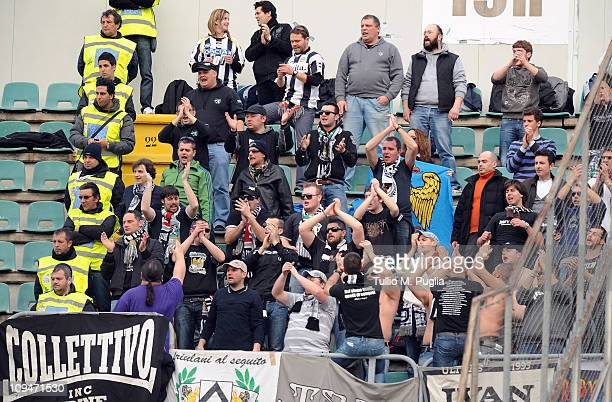 Fans of Udinese show their support during the Serie A match between US Citta di Palermo and Udinese Calcio at Stadio Renzo Barbera on February 27...