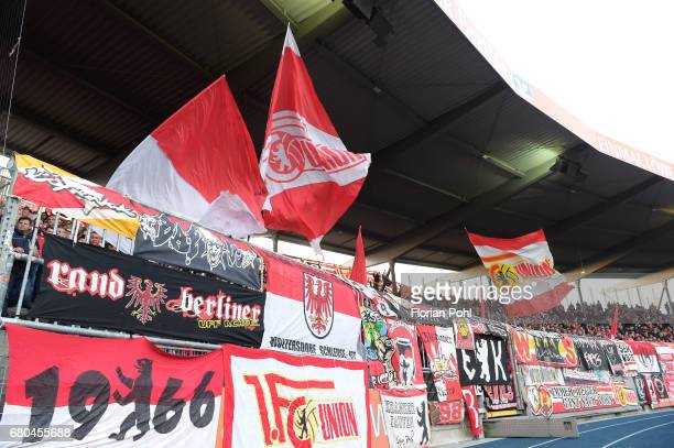 Fans of Union Berlin during the game between Eintracht Braunschweig and dem 1 FC Union Berlin on may 8 2017 in Braunschweig Germany