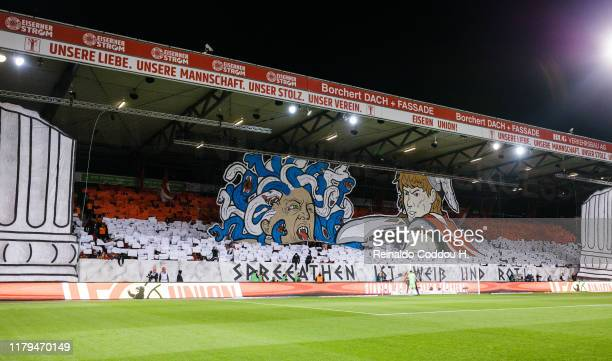 Fans of Union Berlin show a chereography prior to the Bundesliga match between 1. FC Union Berlin and Hertha BSC at Stadion An der Alten Foersterei...