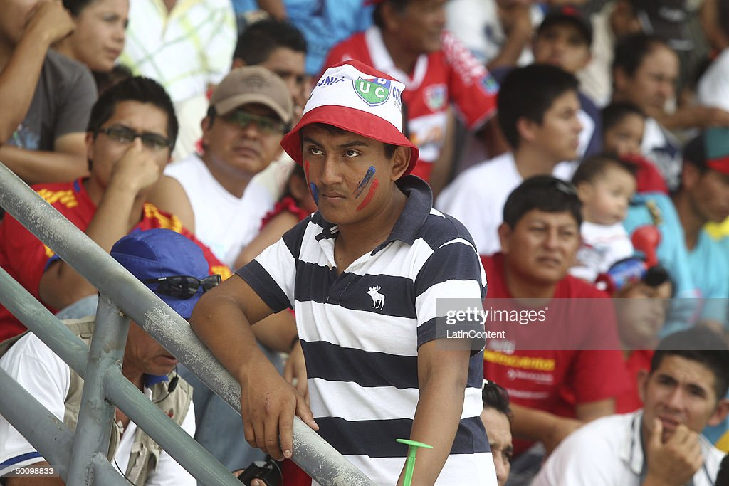 Fans of Union Comercio during a match between Union Comercio and Sporting Cristal as part of the Torneo Descentralizado at IDP of Moyabamba stadium on November 16, 2013 in Moyabamba, Peru.