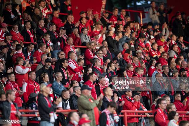 Fans of Union during the pre-season friendly match between 1. FC Union Berlin and 1. FC Nuernberg at An der Alten Foersterei on September 05, 2020 in...