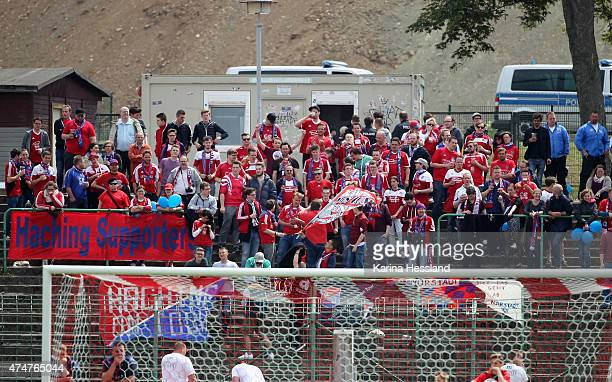 Fans of Unterhaching during the Third League match between FC Rot Weiss Erfurt and SpVgg Unterhaching at Steigerwaldstadion on May 23 2015 in Erfurt...