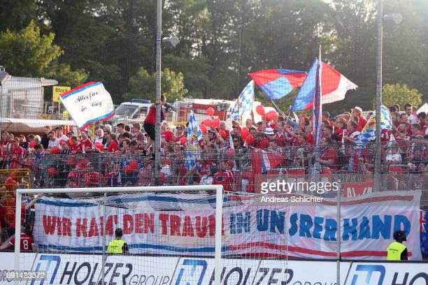 fans of Unterhaching during the Third League Playoff leg two match between SV Elversberg and SpVgg Unterhaching at Ursapharmarena on May 31 2017 in...