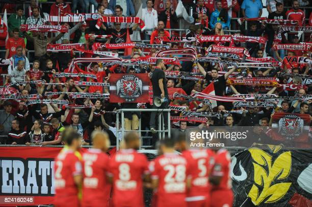 Fans of Valenciennes during the French Ligue 2 match between Valenciennes and Gazelec Ajaccio on July 28 2017 in Valenciennes France