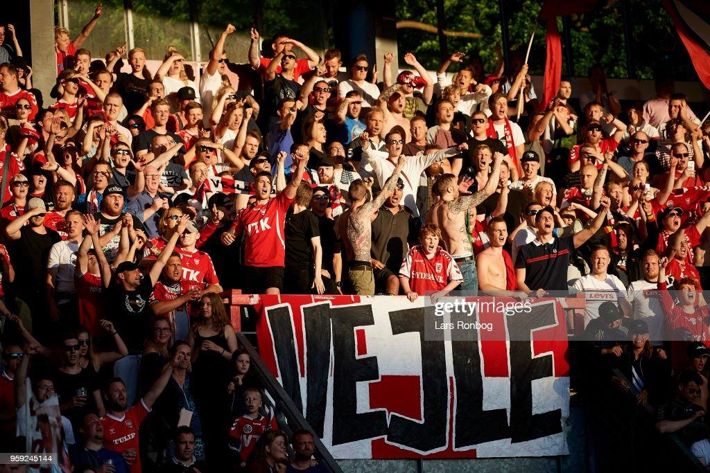Fans of Vejle Boldklub celebrate after the Danish NordicBet Liga match between Vejle Boldklub and FC Fredericia at Vejle Stadion on May 16, 2018 in Vejle, Denmark.