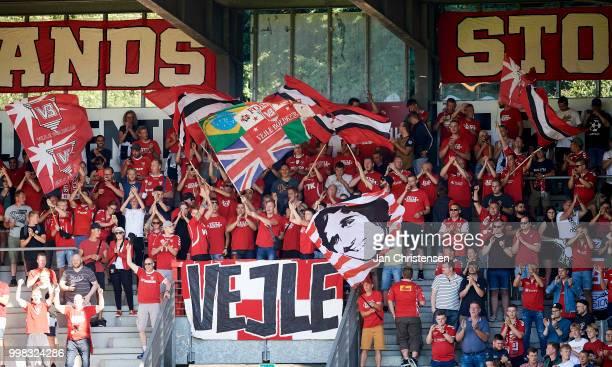 Fans of Vejle Boldklub prior to the Danish Superliga match between Vejle Boldklub and Hobro IK at Vejle Stadion on July 13 2018 in Vejle Denmark