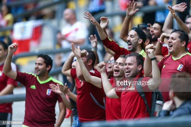 Fans of Venezuela before the Group A match between Venezuela and Peru during Copa America Brazil 2019 at Arena do Gremio stadium on June 15 in Porto...