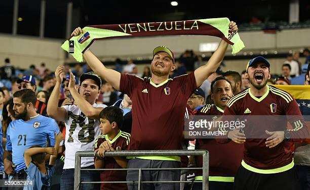 Fans of Venezuela cheer for their team during the Copa America Centenario football match against Uruguay in Philadelphia Pennsylvania United States...