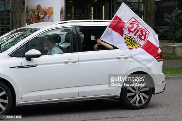 Fans of VfB Stuttgart celebrate their team's promotion after the Second Bundesliga match between VfB Stuttgart and SV Darmstadt 98 at Mercedes-Benz...