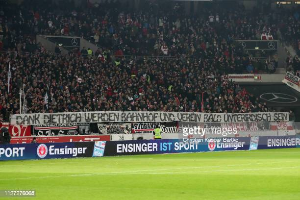 Fans of VfB Stuttgart show a banner prior to the Bundesliga match between VfB Stuttgart and SportClub Freiburg at MercedesBenz Arena on February 3...