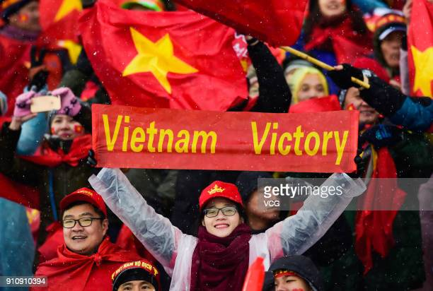 Fans of Vietnam cheer during the AFC U23 Championship China 2018 final match between Vietnam and Uzbekistan at Changzhou Olympic Sports Center on...