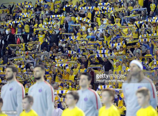 Fans of Vive during the EHF Men's Champions League Game between PGE Vive Kielce and PSG Handball on November 26 2017 in Kielce Poland