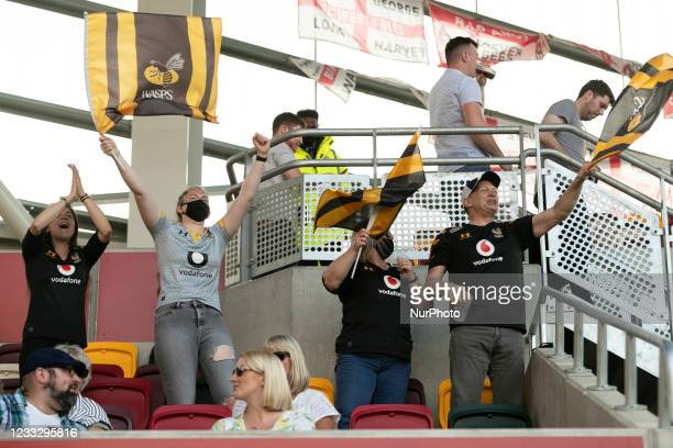 Fans of Wasps celebrate after last minute victory during the Gallagher Premiership match between London Irish and Wasps at the Brentford Community...