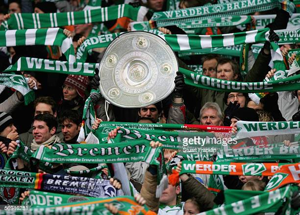 Fans of Werder Bremen during the Bundesliga match between Werder Bremen and Borussia Monchengladbach at the Weser Stadium on February 25, 2006 in...