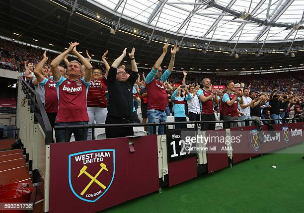 Fans of West Ham United during the Premier League match between West Ham United and AFC Bournemouth at Olympic Stadium on August 21 2016 in London...
