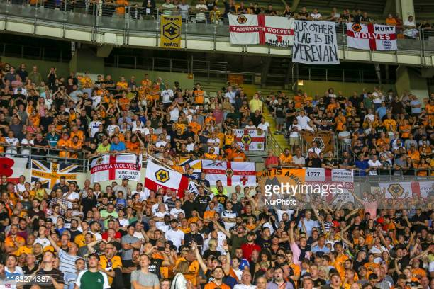 Fans of Wolverhampton Wanderers during the first leg of the playoff of UEFA Europa League between Torino FC and Wolverhampton Wanderers FC at Olympic...