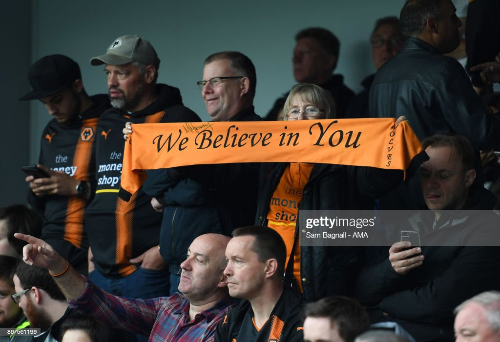 Fans of Wolverhampton Wanderers during the Sky Bet Championship match between Queens Park Rangers and Wolverhampton at Loftus Road on October 28, 2017 in London, England.