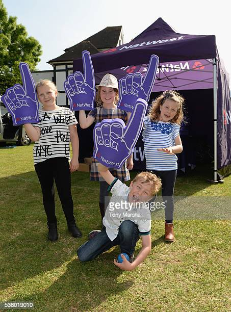 Fans of Worcestershire Rapids with Natwest foam fingers during the NatWest T20 Blast match between Worcestershire Rapids and Yorkshire Vikings at New...
