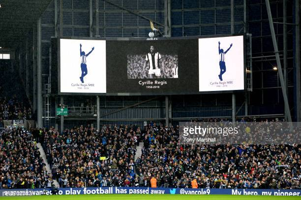 Fans officials and players pay tribute to Cyrille Regis ahead of the Premier League match between West Bromwich Albion and Southampton at The...
