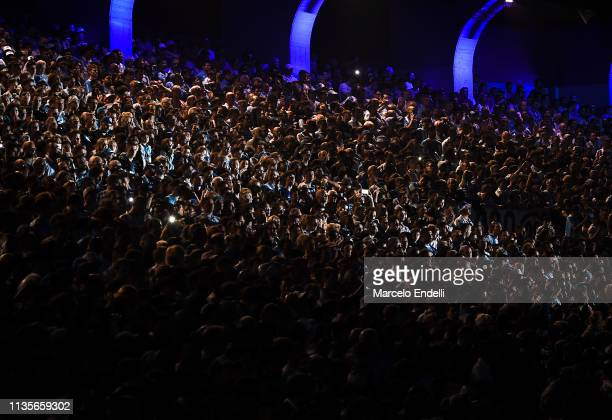 Fans ofRacing Club cheer for their team during a celebration of Superliga 2018/19 at Presidente Peron Stadium on April 7 2019 in Avellaneda Argentina