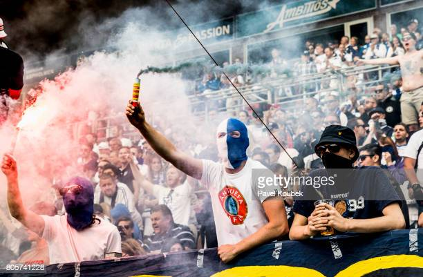 Fans oh of IFK Norrkoping during the Allsvenskan match between Orebro SK and IFK Norrkoping at Behrn Arena on July 2 2017 in Orebro Sweden