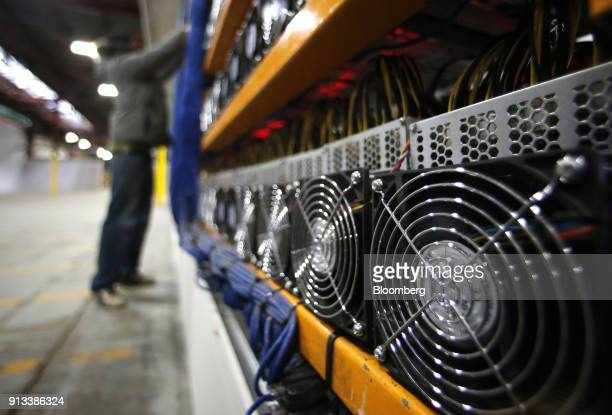 Fans on mining machines are seen at the Bitfarms cryptocurrency farming facility in Farnham Quebec Canada on Wednesday Jan 24 2018 Bitfarms says it's...
