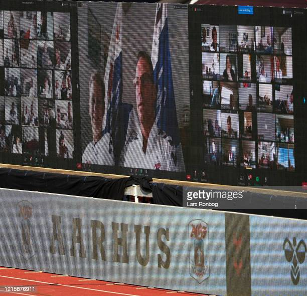 Fans on the LED screens following the game via zoom during the Danish 3F Superliga match between AGF Aarhus and Randers FC at Ceres Park on May 28,...