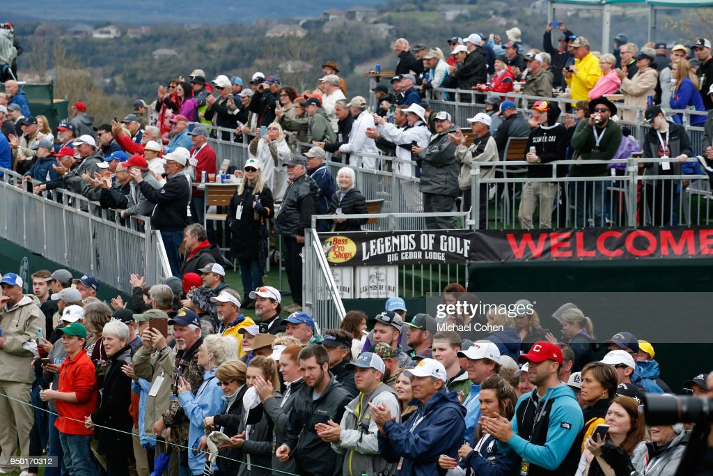 Fans on the ninth green are seen during the Bass Pro Shops Legends of Golf Celebrity Shootout at Big Cedar Lodge held at Top of the Rock on April 22, 2018 in Ridgedale, Missouri.