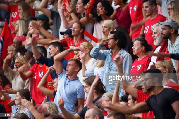 fans on the stadium cheering - hooligan stock pictures, royalty-free photos & images