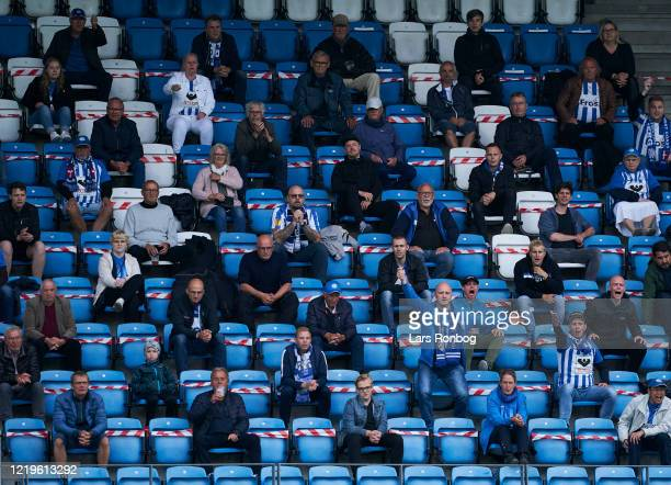 Fans on the stands during the Danish 3F Superliga match between Esbjerg fB and Randers FC at Blue Water Arena on June 12, 2020 in Esbjerg, Denmark.