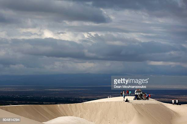 Fans or spectators wait for the competitors to arrive on day 11 stage ten between Belen and La Rioja during the 2016 Dakar Rally on January 13 2016...