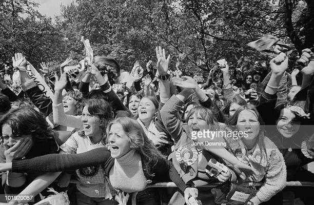 Fans outside a hotel in Belgravia London after members of The Osmonds pop group appeared on a balcony 27th May 1975 Some of the fans were injured in...