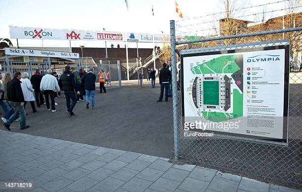 Fans outside before the Allsvenskan League match between Helsingborgs IF and AIK Solna at the Olympia Stadium on May 22012 in HelsingborgSweden