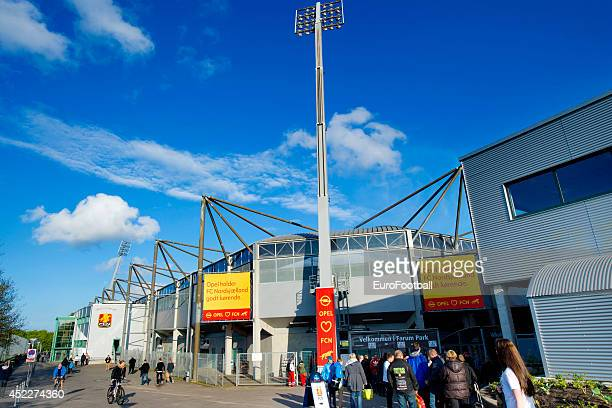 Fans outside Farum Park before the Superliga football match between FC Nordsjaelland and Aalborg BK in Farum Park Stadium on May 7 2014 in Farum...