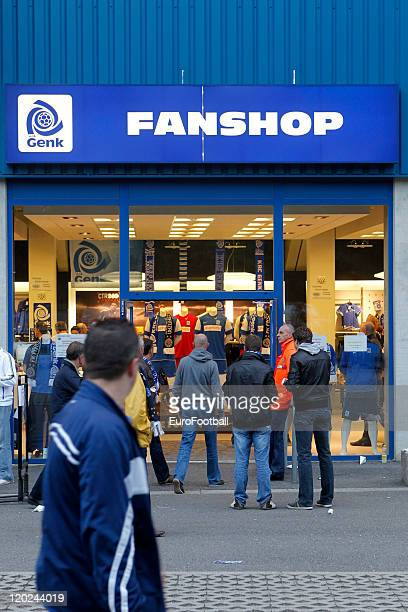 Fans outside Gen's merchandise shop before the Jupiler Pro League Match between KRC Genk and Beerschot AC at the Cristal Arena on 30 July 2011 in...